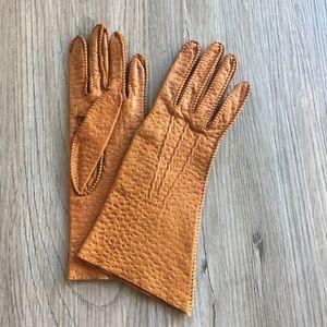 Vintage hand tooled tan leather gloves